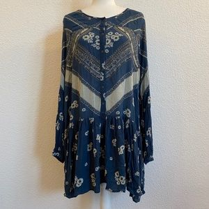 Free People Floral Teal Tunic Dress